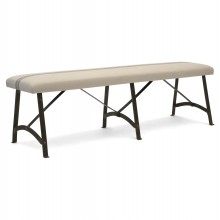 Long Iron Bench with Upholstered Seat