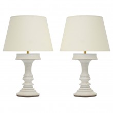 Pair of White Terra Cotta Table Lamps