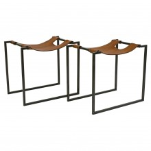 Pair of Iron and Leather Benches