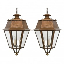 Pair of Hexagonal Copper Lanterns
