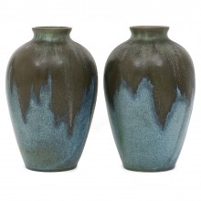 Pair of Blue and Brown Ceramic Vases