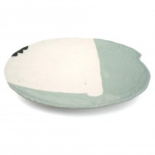 Green and White Porcelain Plate