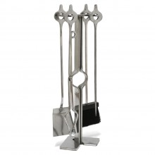 French Polished Steel Fireplace Tools