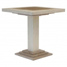 Square Travertine and Marble Side Table