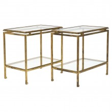 Pair of Gilt Iron and Glass Side Tables by Ramsay