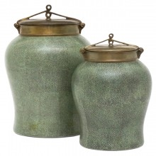 Set of Two Faux Shagreen Ceramic Urns with Lids