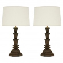 Pair of Carved Oak Table Lamps