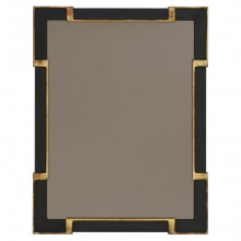 Black and Gilded Wood Mirror