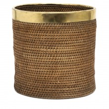 Rattan and Brass Basket