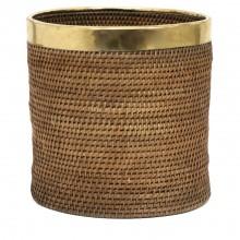 Rattan and Brass Basket