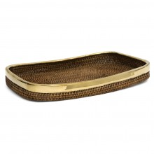Rattan and Brass Tray