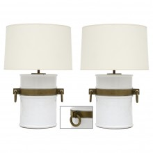 Pair of White Ironstone and Bronze Lamps