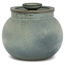 Light Blue and Black Pot with Lid