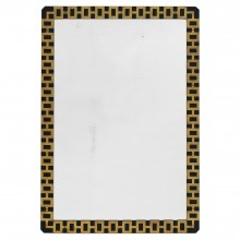 Black Metal Mirror with Brass Applique