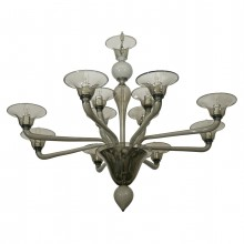 Twelve Arm Gray Murano Chandelier