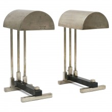 Pair of Nickel Plated Brass Bauhaus Style Desk Lamps
