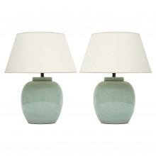 Pair of Light Celadon Ginger Jar Lamps