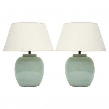 Pair of Light Celadon Ginger Jar Lamps