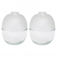Pair of Heavy Clear and Frosted Glass Vases