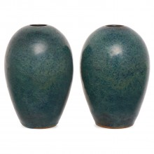 Pair of Blue Stoneware Vases