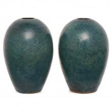 Pair of Blue Stoneware Vases