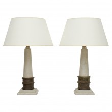 Painted Wood Column Lamps with Iron Collar