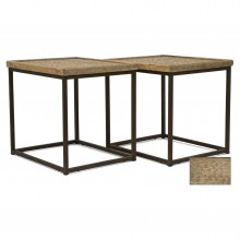 Pair of Iron and Wood Side Tables