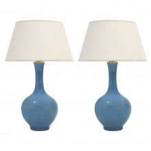 Pair of Blue Long Neck Vases