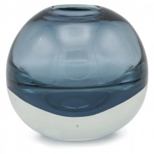 Round Blue Glass Vase
