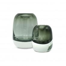 Set of 2 Molded Gray/Green Glass Vases