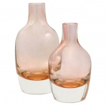 Set of Two Rose Glass Vases
