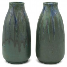 Pair of French Drip Glazed Vases