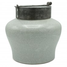 French Ceramic Pot with Iron Lid
