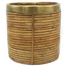 Rattan and Brass Waste Basket