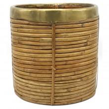 Rattan and Brass Waste Basket