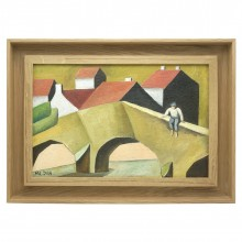 Cubist Style Painting of Houses and Bridge