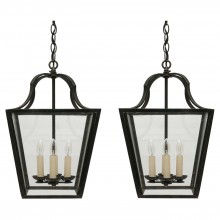 Pair of Four Light Steel Lanterns
