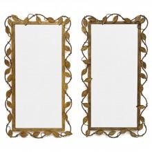 Pair of Gilt Iron Foliate Mirrors