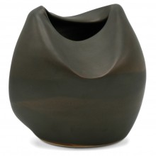 Crushed Brown Stoneware Vase