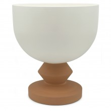 Large Cream Pedestal Bowl with Terra Cotta Base