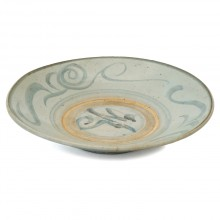 Painted Light Blue Ming Stoneware Plate