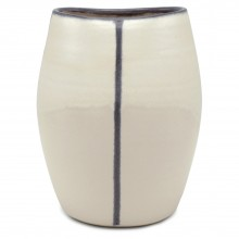 Oval Blue and White Striped Vase