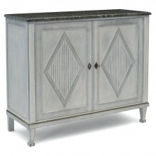Painted Two Door Cabinet with Marble Top