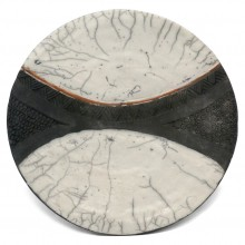 Black and White Raku Fired Plate