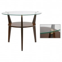 Circular Walnut and Glass Table