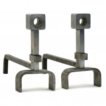 Pair of Polished Steel Andirons