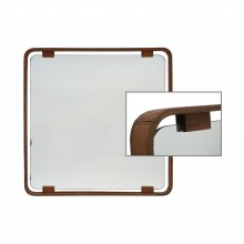 Square Mirror with Stitched Leather Frame