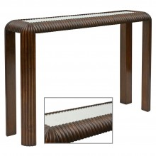 Reeded Oak Console with Mirrored Top