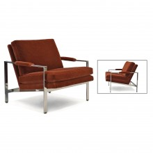 Pair of Chrome Milo Baughman Upholstered Armchairs