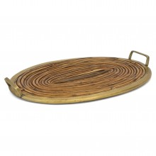 Oval Bamboo and Brass Tray